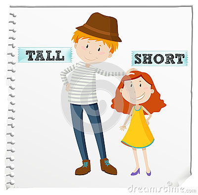 Opposite adjectives tall and short