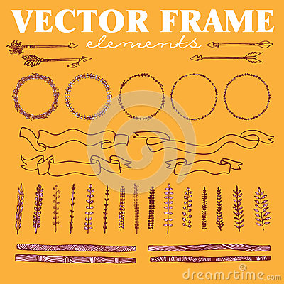 Vector set of hand drawn floral squared and rounded frames and decorative elements and ornaments.