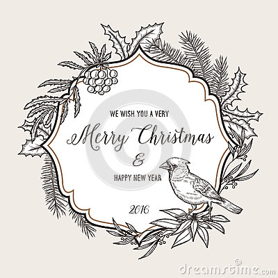 Hand drawn vintage christmas greeting card. Happy