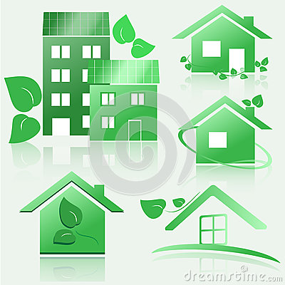 Set of eco green house icons with reflection. eps10 vector