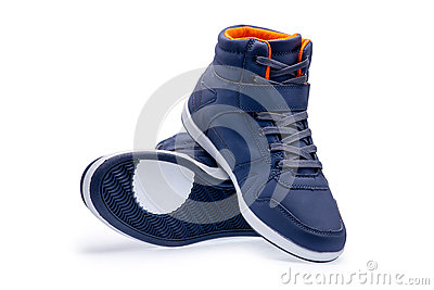 Pair of high top fashion blue sneakers