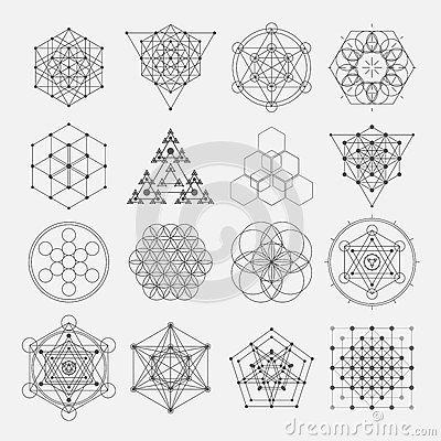 Sacred geometry vector design elements. Alchemy