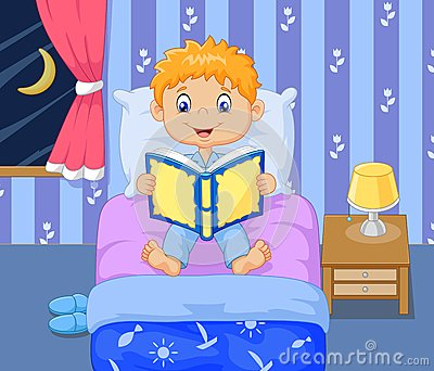 Cartoon boy reading bed time story