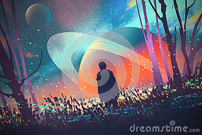 Man standing alone in forest with fictional planets background