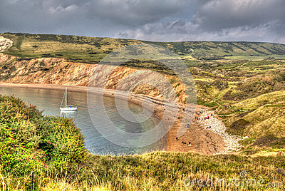 Worbarrow Bay east of Lulworth Cove on the Dorset coast England uk in colourful HDR