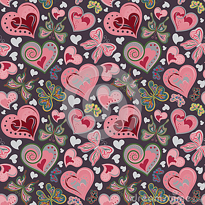 Seamless valentine pattern with colorful vintage pink and brown butterflies, flowers, hearts on black background. Vector.