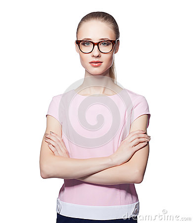 Beautiful young blond woman wearing glasses with arms folded. Office style. Looking at the camera. Isolated on white background