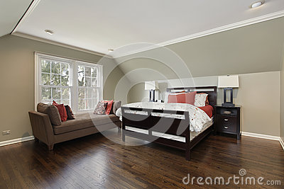 Master bedroom with brown sofa