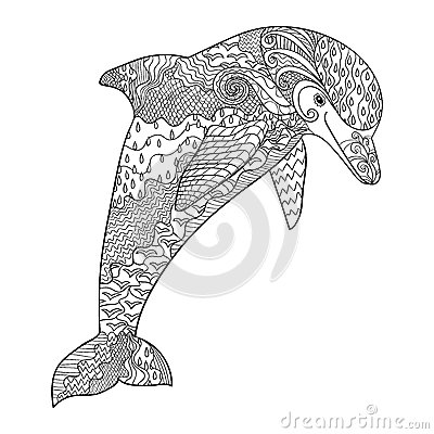 Happy dolphin with high details for Adult coloring pages dolphin