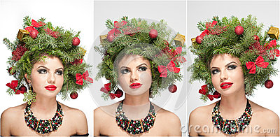 Beautiful creative Xmas makeup and hair style indoor shoot. Beauty Fashion Model Girl. Winter. Beautiful fashionable in studio