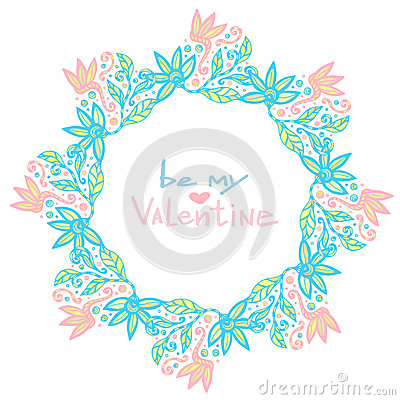 Valentines day decoration. Cute floral frame in vector. Creative flowers background in pastel color