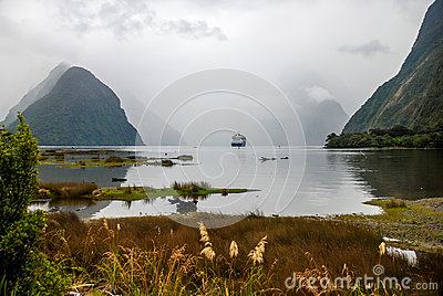 Big cruise ship at Milford Sound
