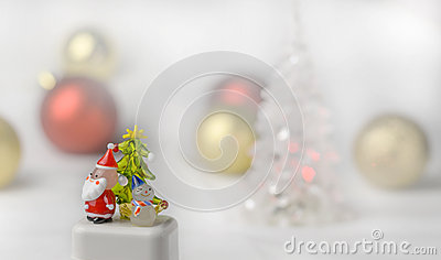 Crystal Snow man and Santa Claus with christmas ball background