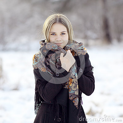 Beautiful Russian woman at winter nature