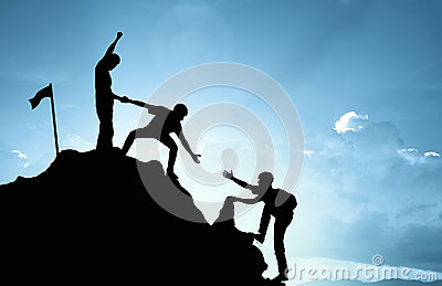 stock image of climbing helping team work , success concept
