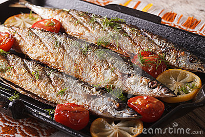 Fish menu: grilled saury with vegetables on the grill pan