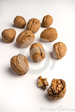 Wallnuts on white background