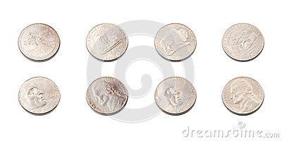 US five cents coins collection
