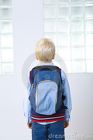 Schoolboy with backpack