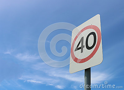 40 kilometre an hour road safety speed sign