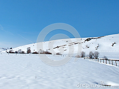 Sunny impression of mountain winter landscape