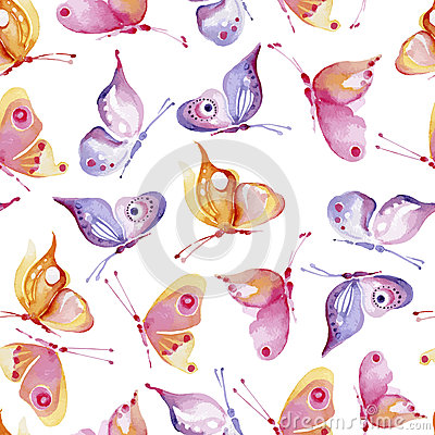 Seamless watercolor background consisting of butterflies of different colors, yellow and pink