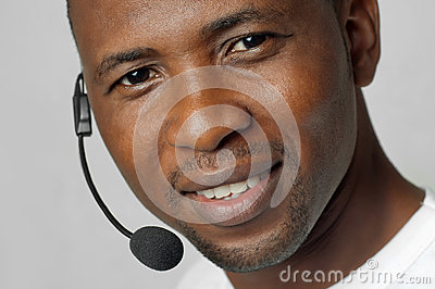 African American male customer service representative or call center worker