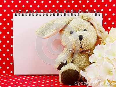 Blank space notebook and cute rabbit doll on red polka dot background
