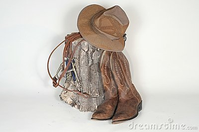 Hat, Boots and Reins w/stump
