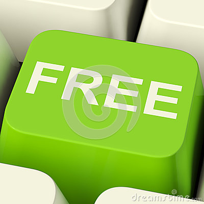 Free Computer Key In Green Showing Freebie and Promo