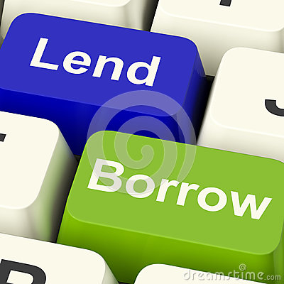 Lend And Borrow Keys Showing Borrowing Or Lending On The Interne