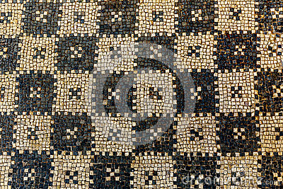 Ancient Mosaic ruins close up in Roman villa in Risan, Monteneg
