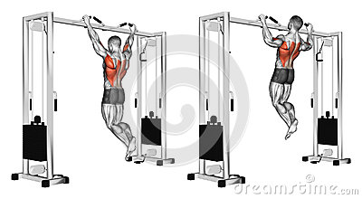 Exercising. Pulling up wide grip hand on the crossbar undergrip