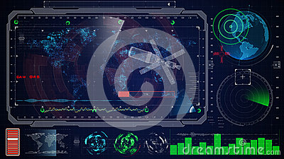 Futuristic blue virtual graphic touch user interface HUD. earth digital map