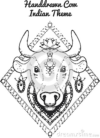 Hand drawn Illustration of indian cow