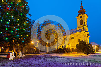 Catholic church in the Christmastime , Town of postoloprty, Czech Republic
