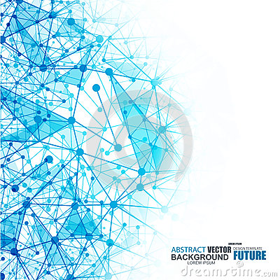 Abstract blue wireframe mesh polygonal background