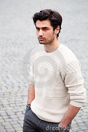 Handsome Fashion Young Man Outdoors Black Hair Style
