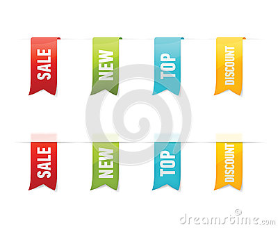 Collection of vector sale labels, stickers, tags on white background