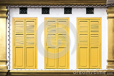 Yellow window doors