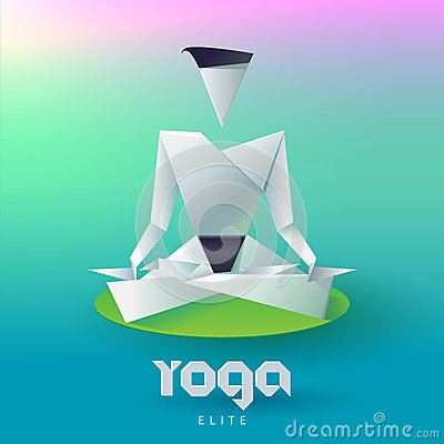Yoga Man In The Lotus Position Form Of Origami Logo Design Vector Template Healthy Natural Lifestyle Logotype Concept Icon Elite