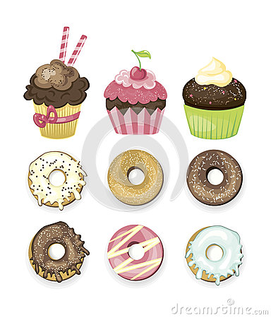 Set of vector illustrated sweets. Donuts and cupcakes.
