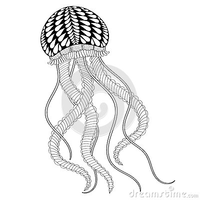 Hand Drawn Sea Jellyfish For Adult Coloring Pages In Doodle Zen