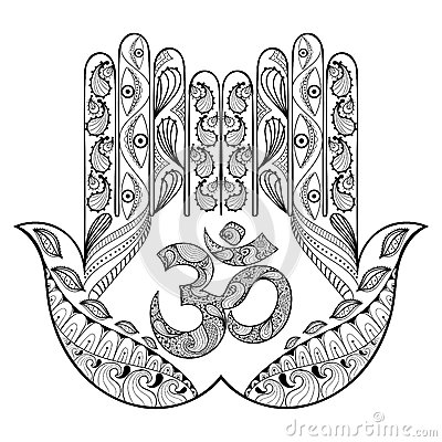 Hand Drawn Protection Hamsa Hand For Adult Coloring Pages In Doodle