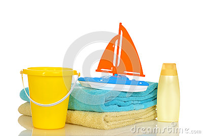 Child toys and towels ready for beach