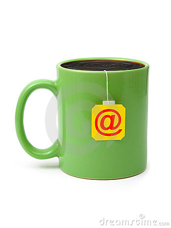 Cup of tea with e-mail symbol