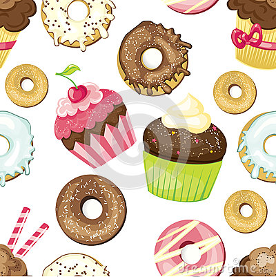 Seamless background with different sweets and desserts. tiled donuts and cupcakes pattern. Cute wrapping paper texture.