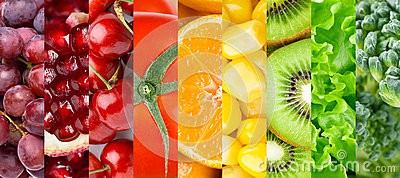 Collection with different fruits, berries and vegetables