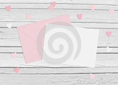 Valentines day or wedding mockup scene with envelope, blank card, paper hearts confetti and wooden background