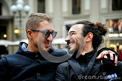 Gay couple on the streets of Florence , Italy